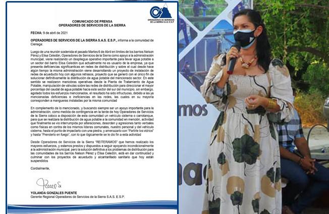 Debido a los incidentes presentados en los barrios Elisa Celedon y Nelson Pérez, Operadores de Servicio de la Sierra envió un comunicado