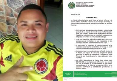 <strong>Patrullero de la Policía fue asesinado en el barrio las Margaritas de Ciénaga</strong>